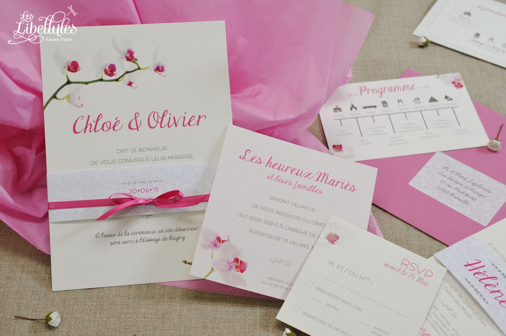 Faire-part, invitation et programme rose fuchsia Orchidée